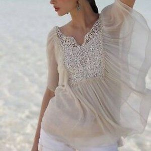 Anthropologie Alabaster Crochet Batwing Chiffon 10
